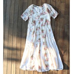 Vintage | 90s White Rose Maxi Dress